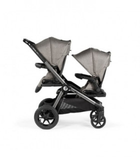 Poussette double Baby Monsters Easy Twin 3S Light Heather Grey - 2 coques Cybex Aton 5 Deep Black - Chassis Noir